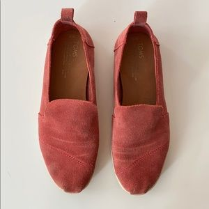 Toms - coral suede slip on sneakers